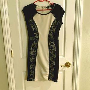 Venus Black & Cream Body Con Dress Size M